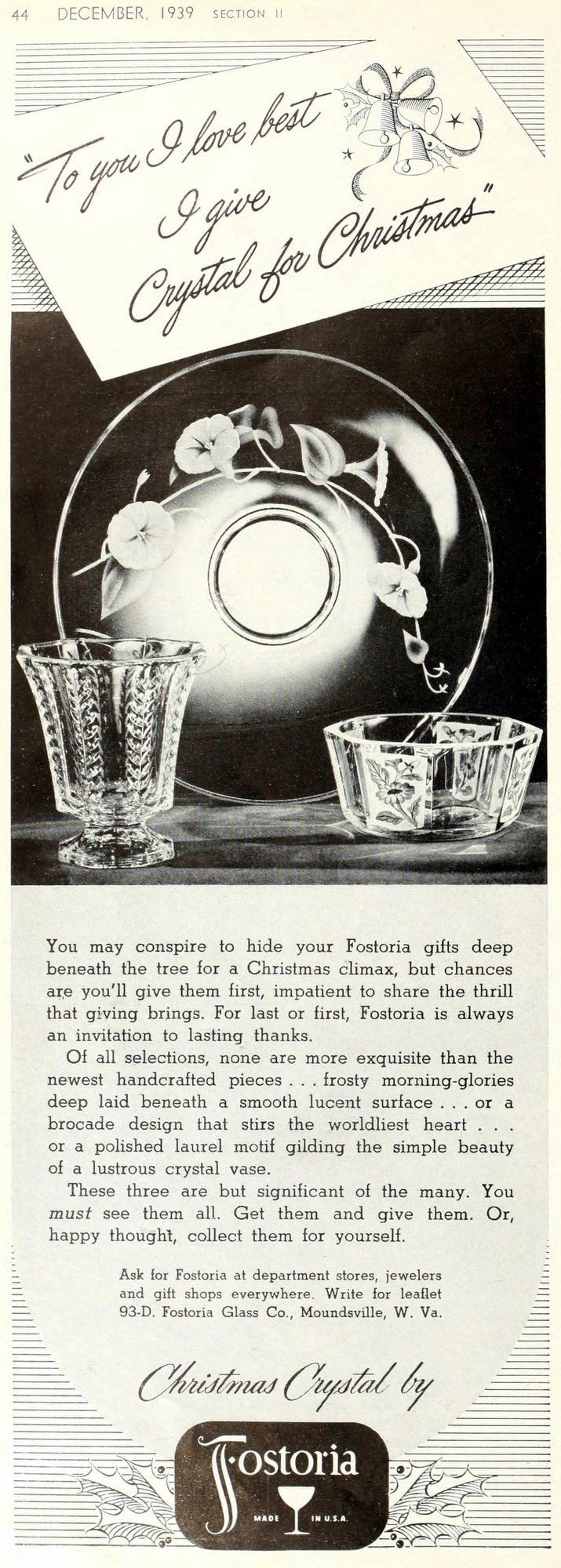 Old fashioned Christmas crystal from Fostoria (1939)