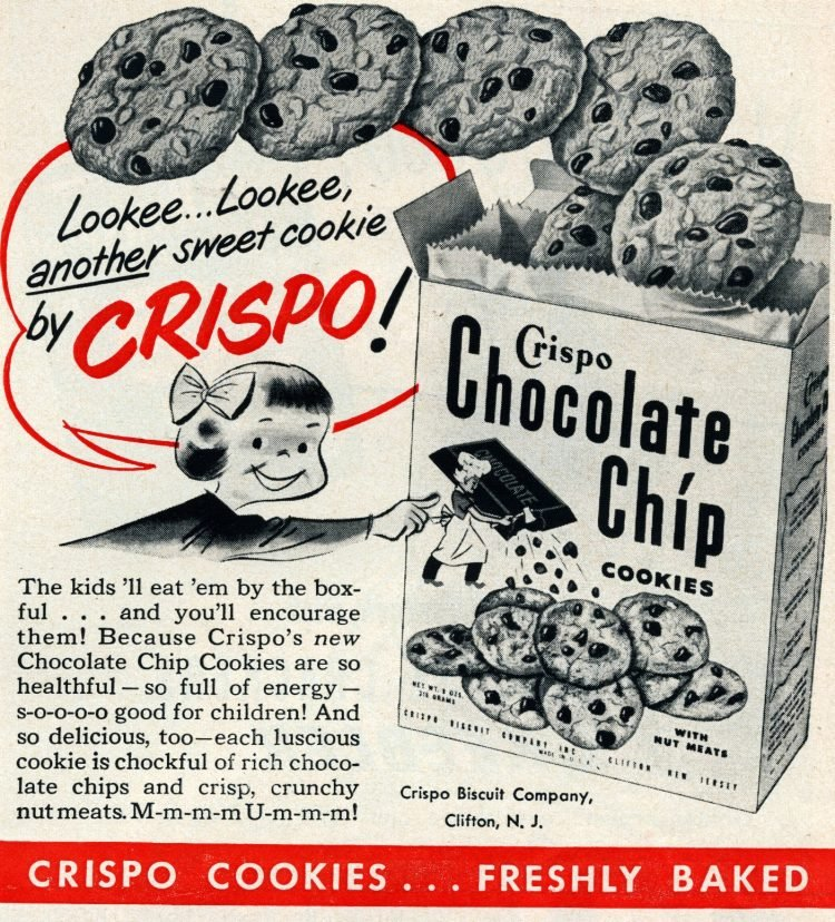 Old-fashioned Crispo chocolate chip cookies (1950)