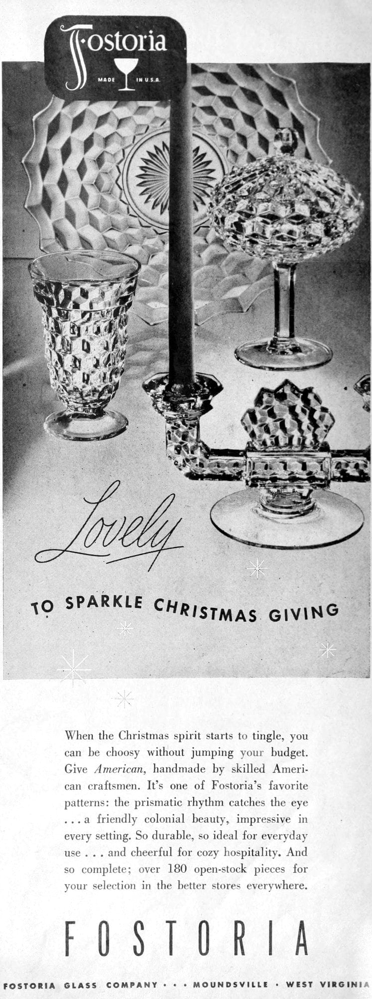 Old-fashioned Fostoria sparkle glasses from 1948