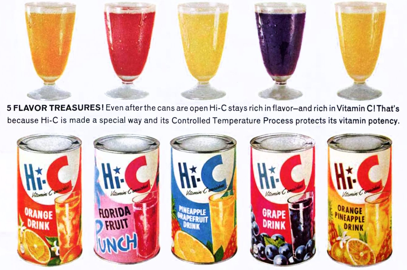 Old-fashioned Hi-C drink flavors