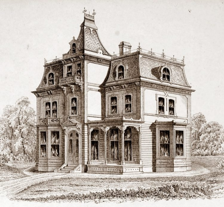Old-fashioned Mansard homes from 1869 - Reconstruction era (3)