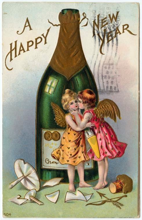 Old-fashioned New Year's postcards from Click Americana (1)