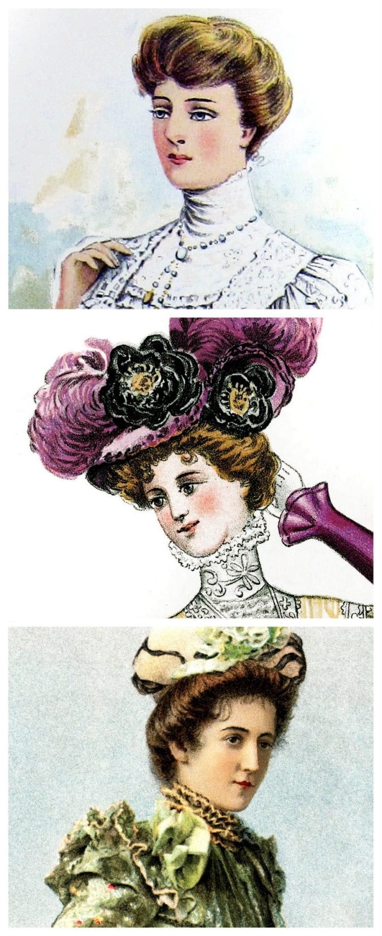 Vintage hairstyles The Pompadour (1899) , Click Americana