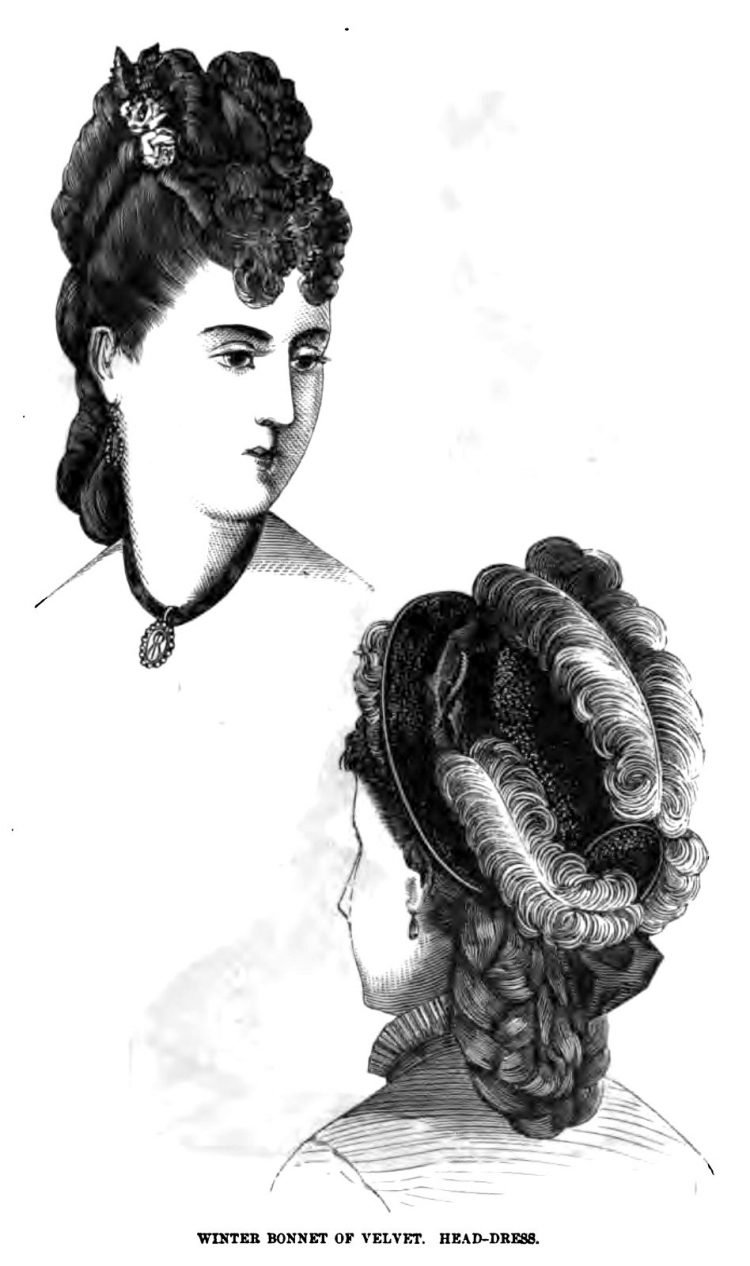 Old-fashioned Victorian hairstyles for women from 1876