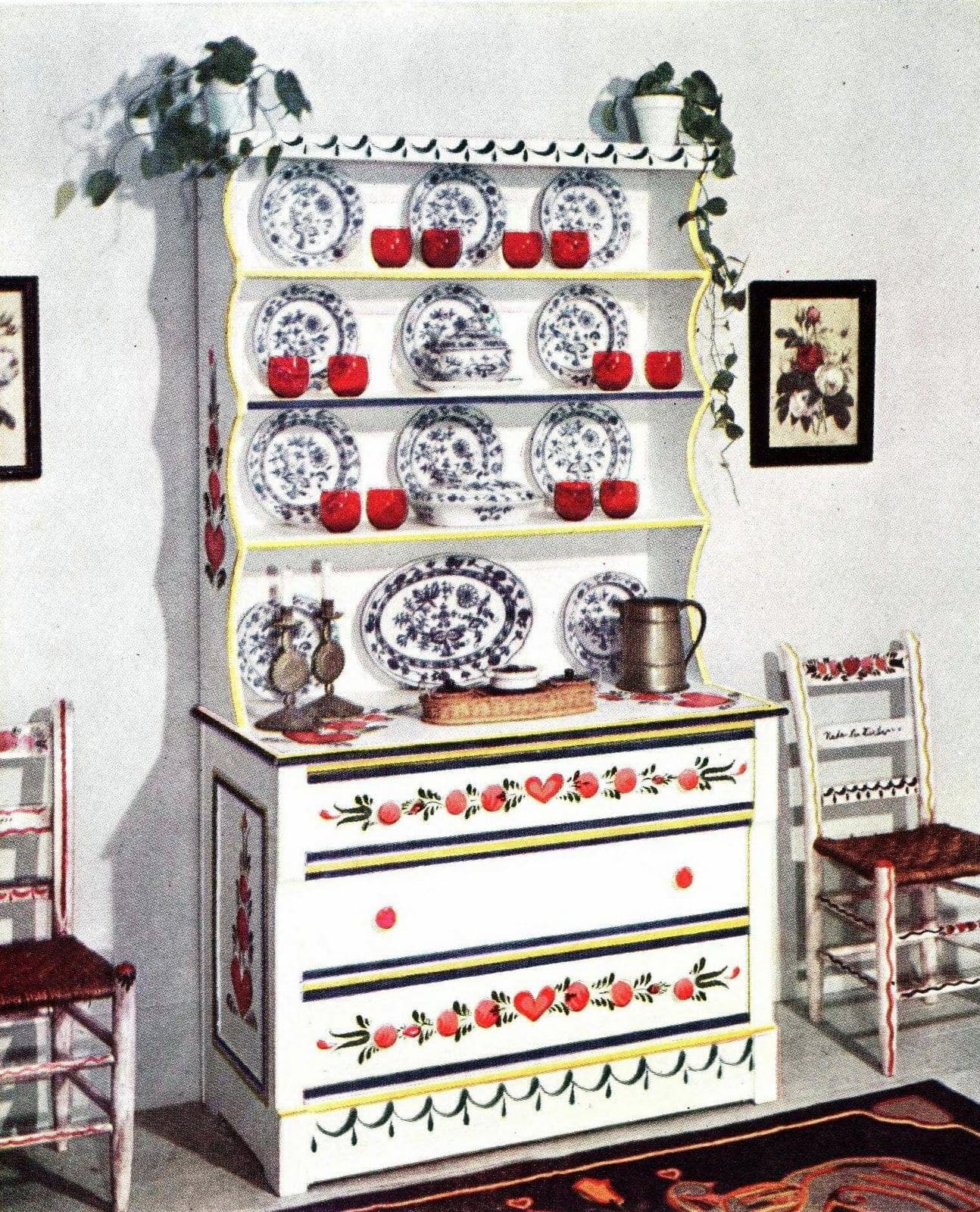 Old-fashioned Welsh dresser with traditional Americana paint artwork by Peter Hunt