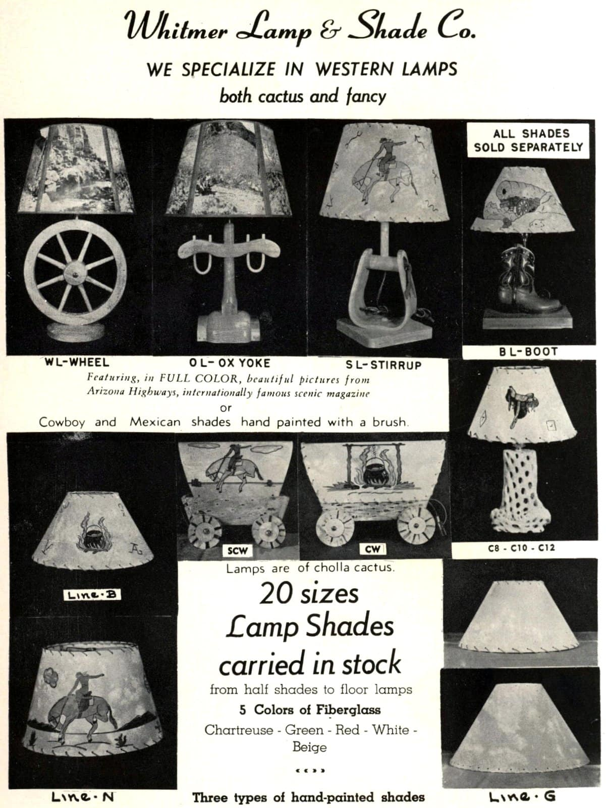 Old-fashioned Western-style lamps and hand-painted shades in cowboy and Mexican styles (1953)