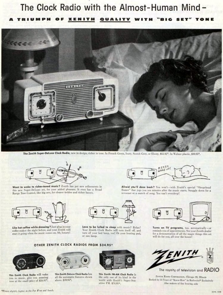 Old-fashioned Zenith clock radio from 1952