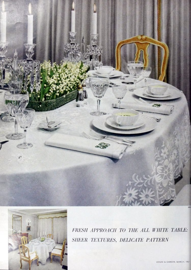 Old-fashioned all-white dining table settings from 1957