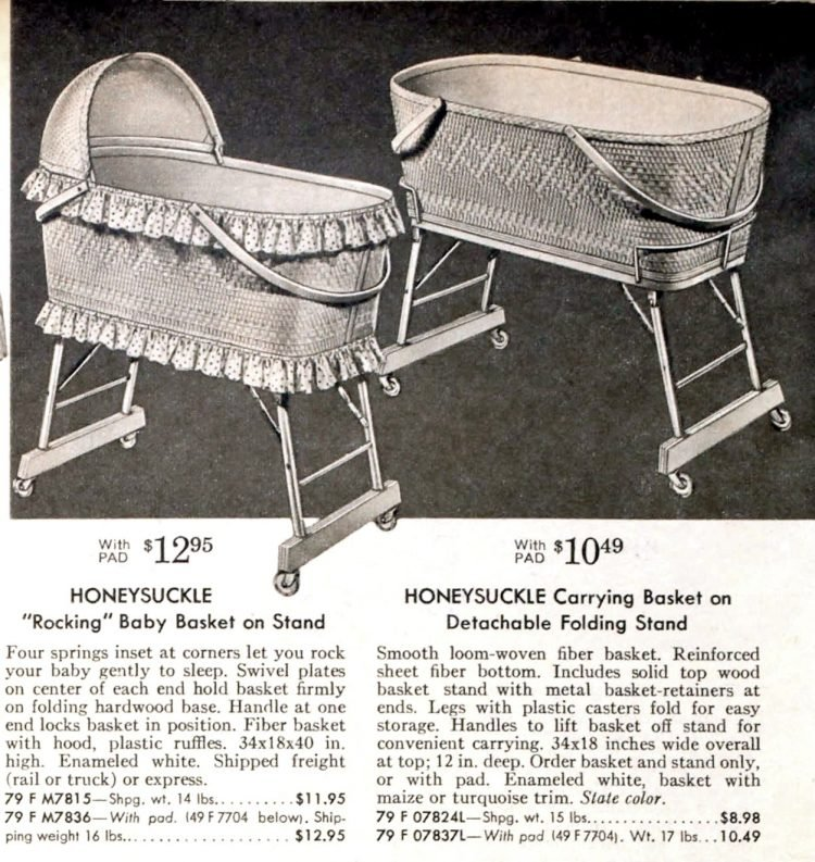Old-fashioned baby baskets from the fifties