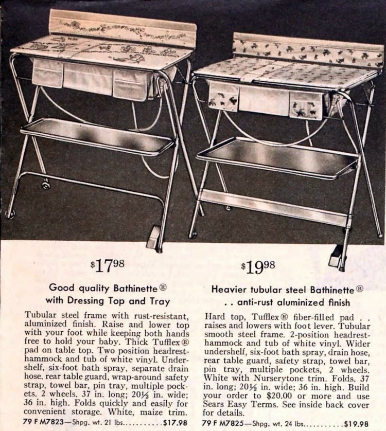 Old-fashioned baby changing table and bath from the fifties