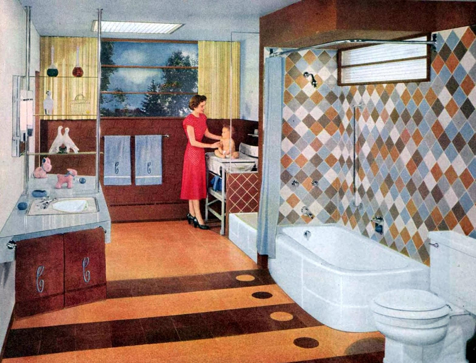 Old-fashioned brown, tan and gray bathroom decor (1953)