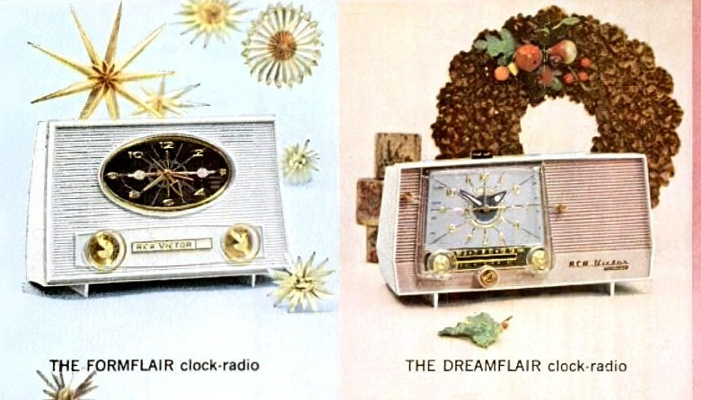 Old-fashioned clock radios from 1960