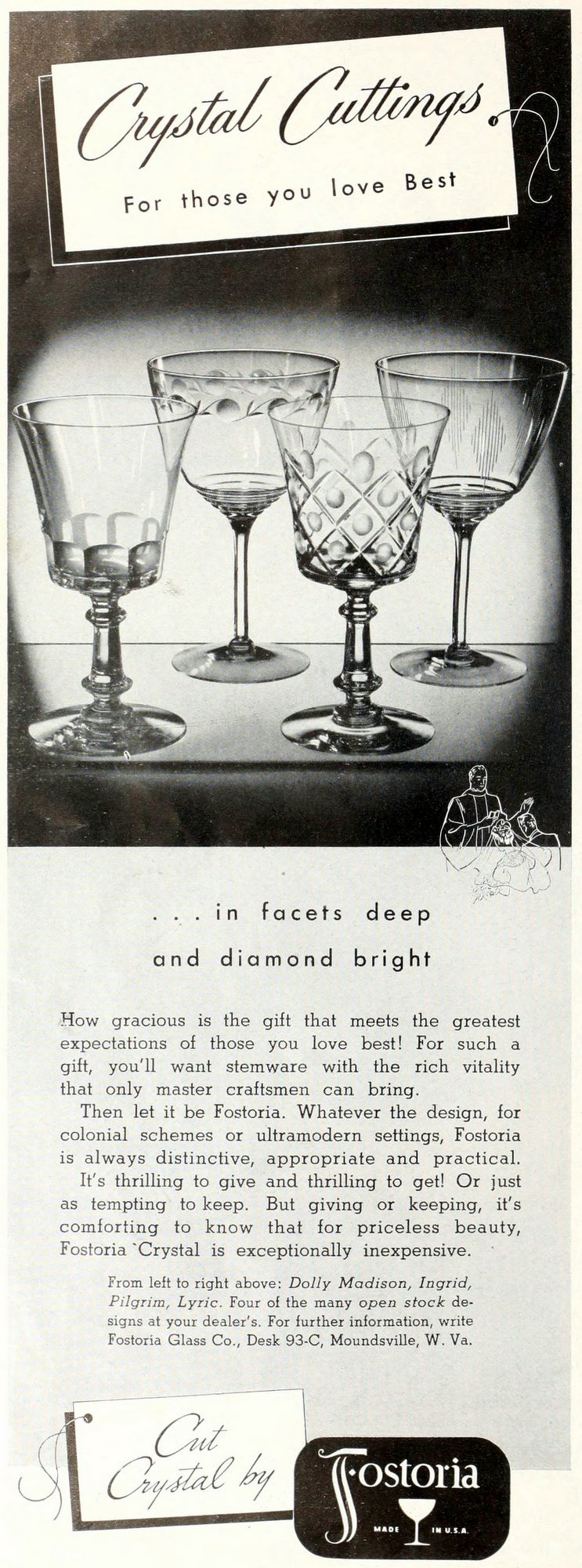Old fashioned crystal from Fostoria (1939)