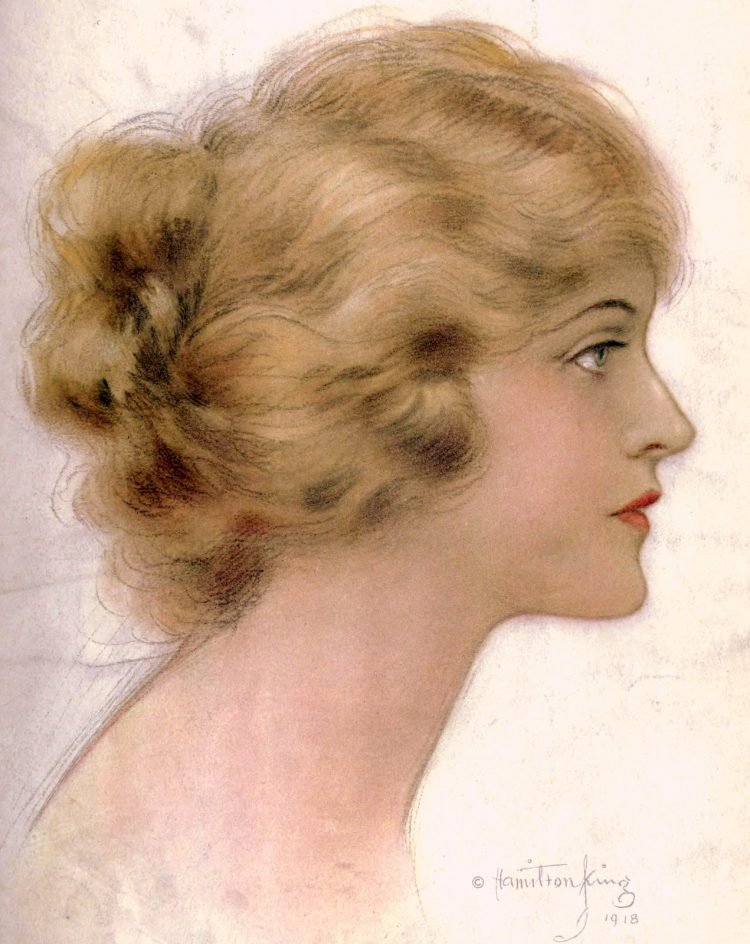 Old-fashioned hairstyle (1918)