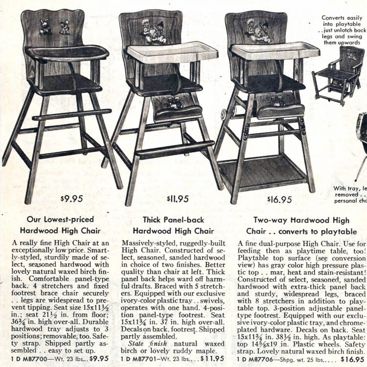 Old-fashioned high chairs from the fifties