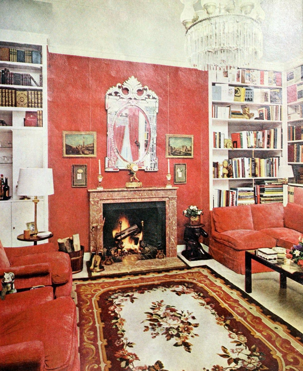 Old-fashioned living room decorating in a 1960s home