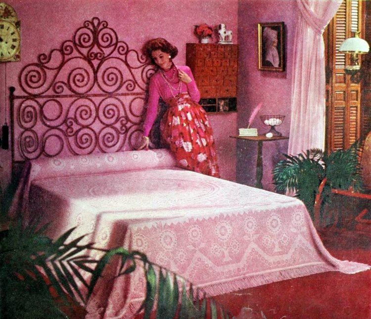 Old-fashioned main bedroom interior decorating with pink from the 1950s