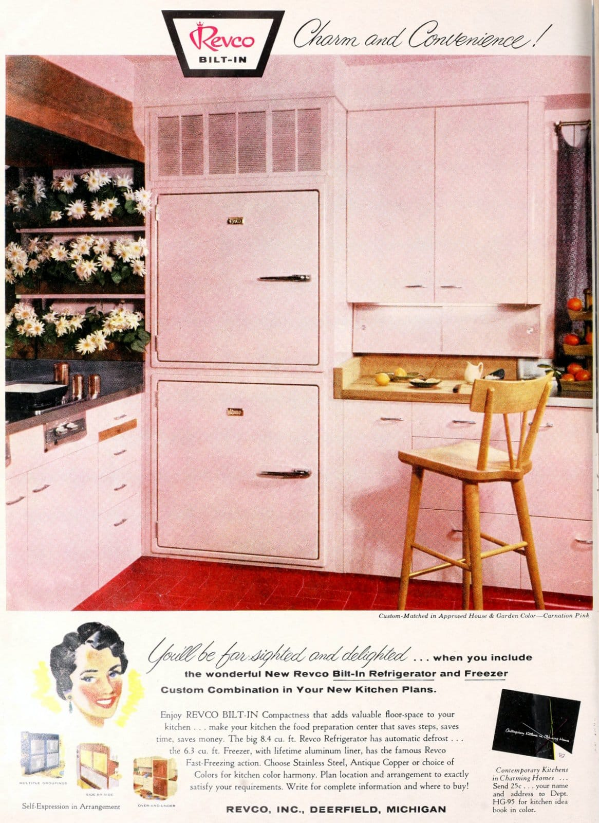 Old-fashioned pink kitchen fridge and decor from 1955