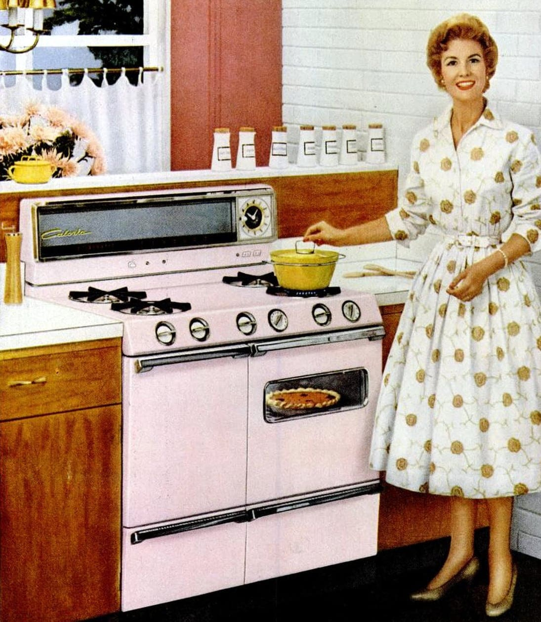 Old-fashioned pink range in a 1958 Kitchen
