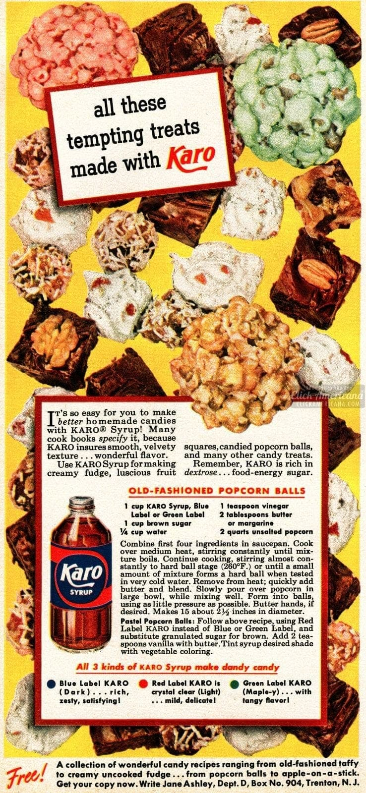 Old-fashioned popcorn balls recipe (1950)