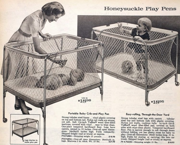 Old-fashioned portable cribs and playpens - 1950s