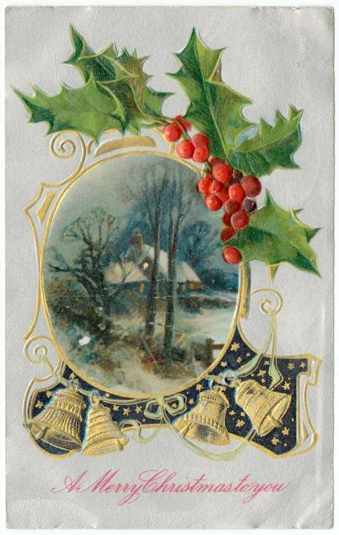Old-fashioned postcard from 1909 - A merry Christmas to you