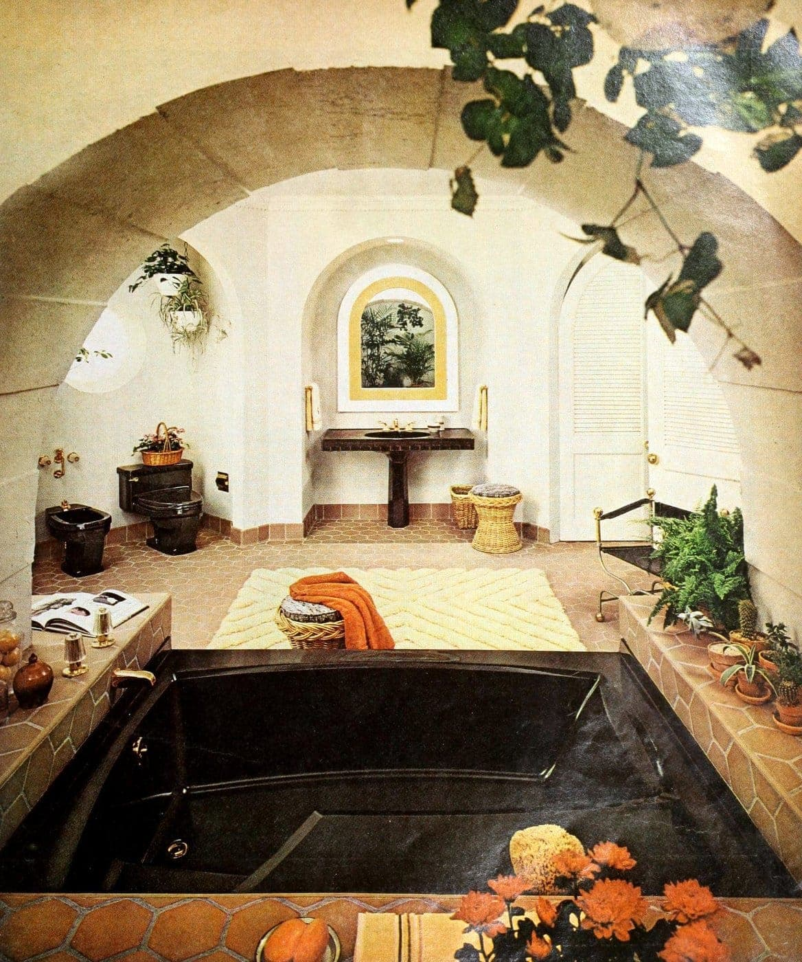 Old-fashioned rustic French style bathroom with dark brown fixtures from 1974