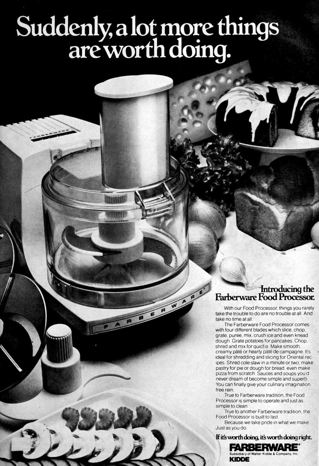 Old-fashioned seventies Farberware food processor (1977)