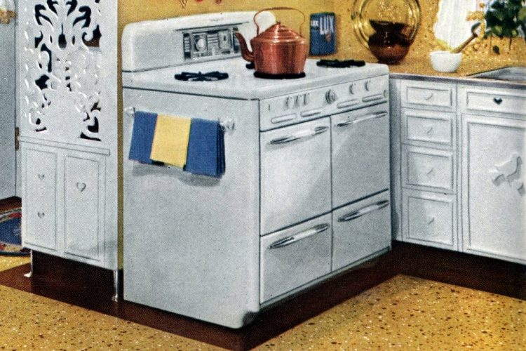 Old-fashioned white gas kitchen ranges from the 50s