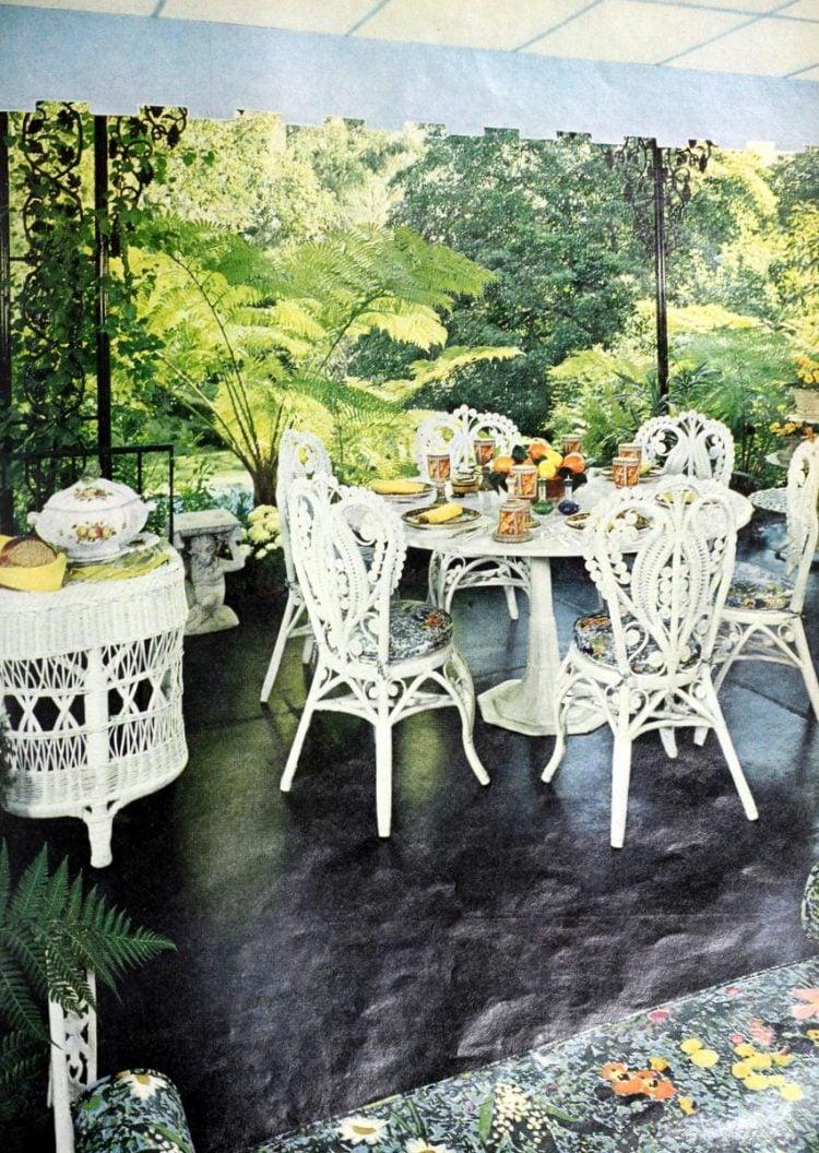 Old fashioned white wicker garden furniture