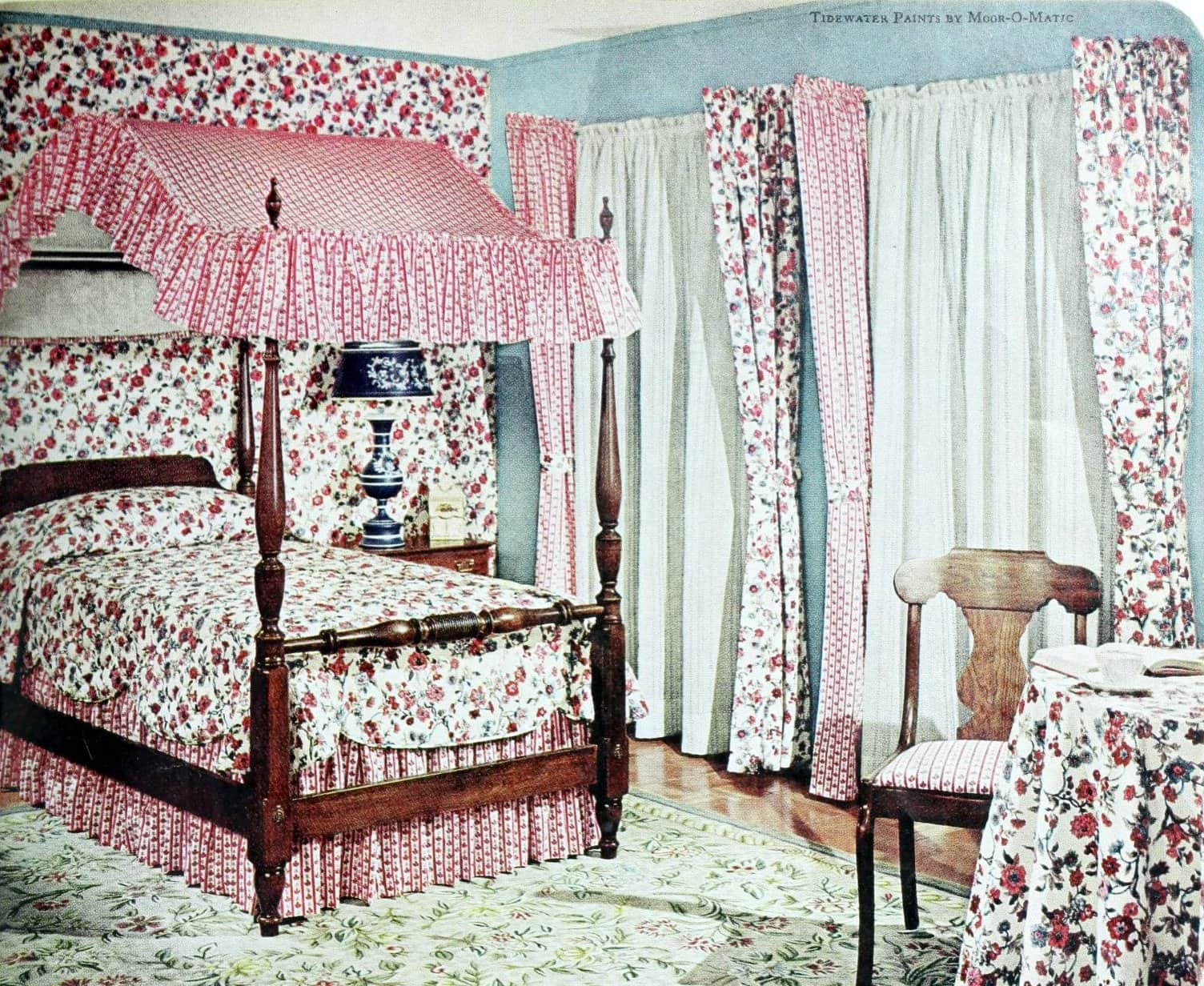 Old-fashioned wooden four-poster bed with short canopy (1970)