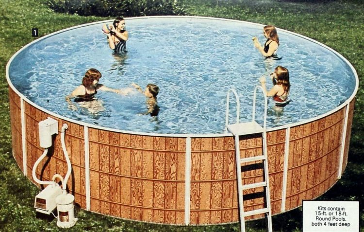 Old-fashioned wooden-side swimming pool from the eighties