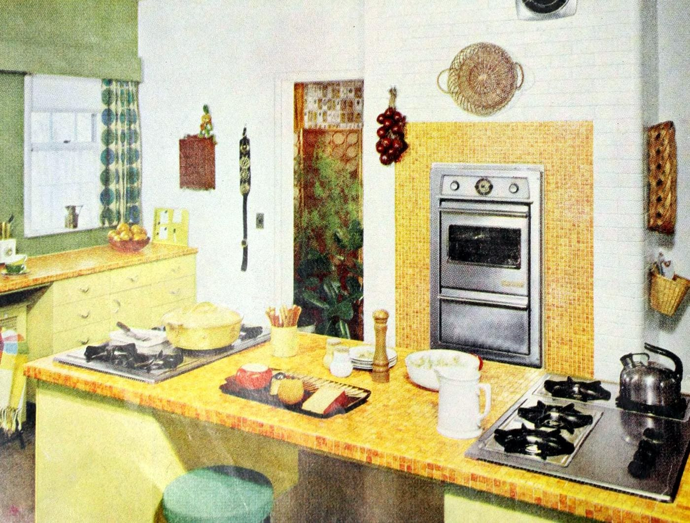 Old-fashioned yellow kitchen countertops and decor from the 50s