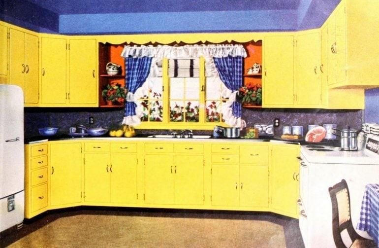 Old-fashioned yellow kitchen with blue accents (1950)