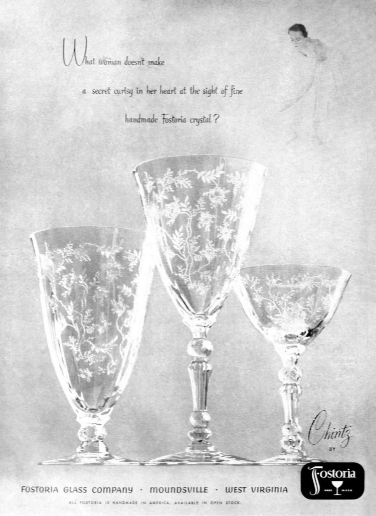 Old handmade Fostoria crystal Chintz pattern glasses from 1952