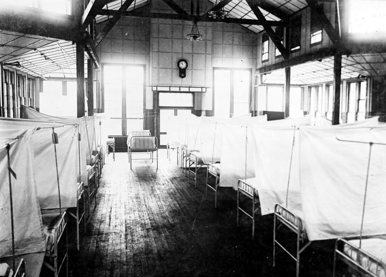 Old hospital wards during the Spanish Flu pandemic in 1918