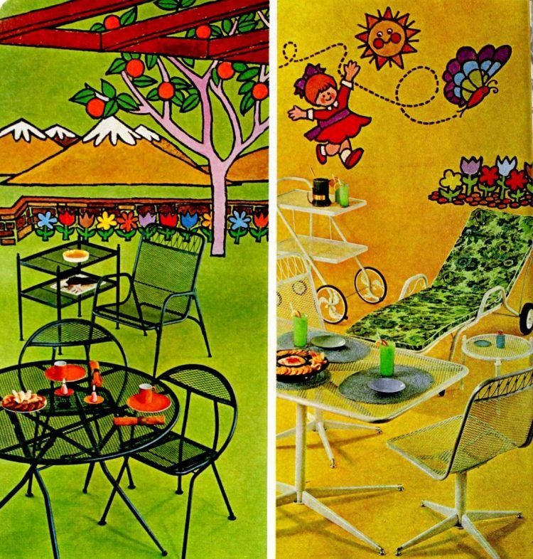Old metal patio furniture from the 1960s