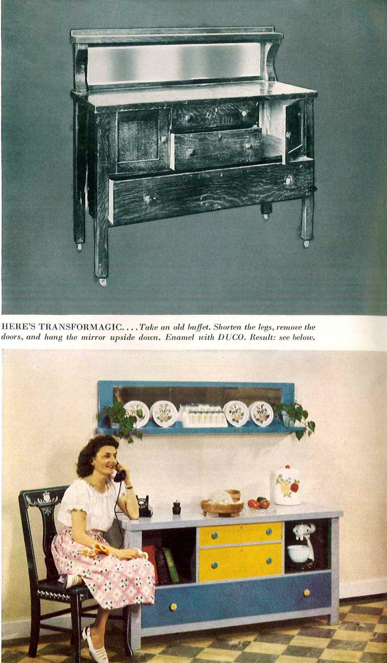 Old oak buffet transformed with paint - Ideas from the 1940s