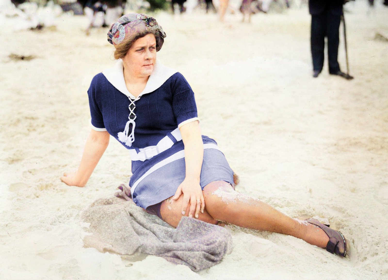 Old photo - Woman on the beach at Long Beach in New York (c1912) - Colorized