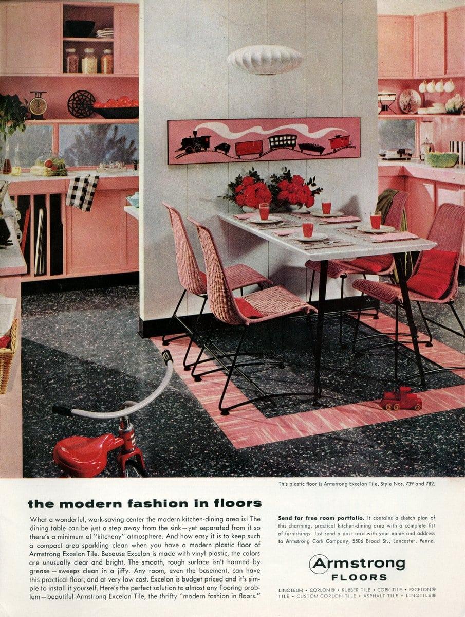 Old pink and black retro kitchen design 1955