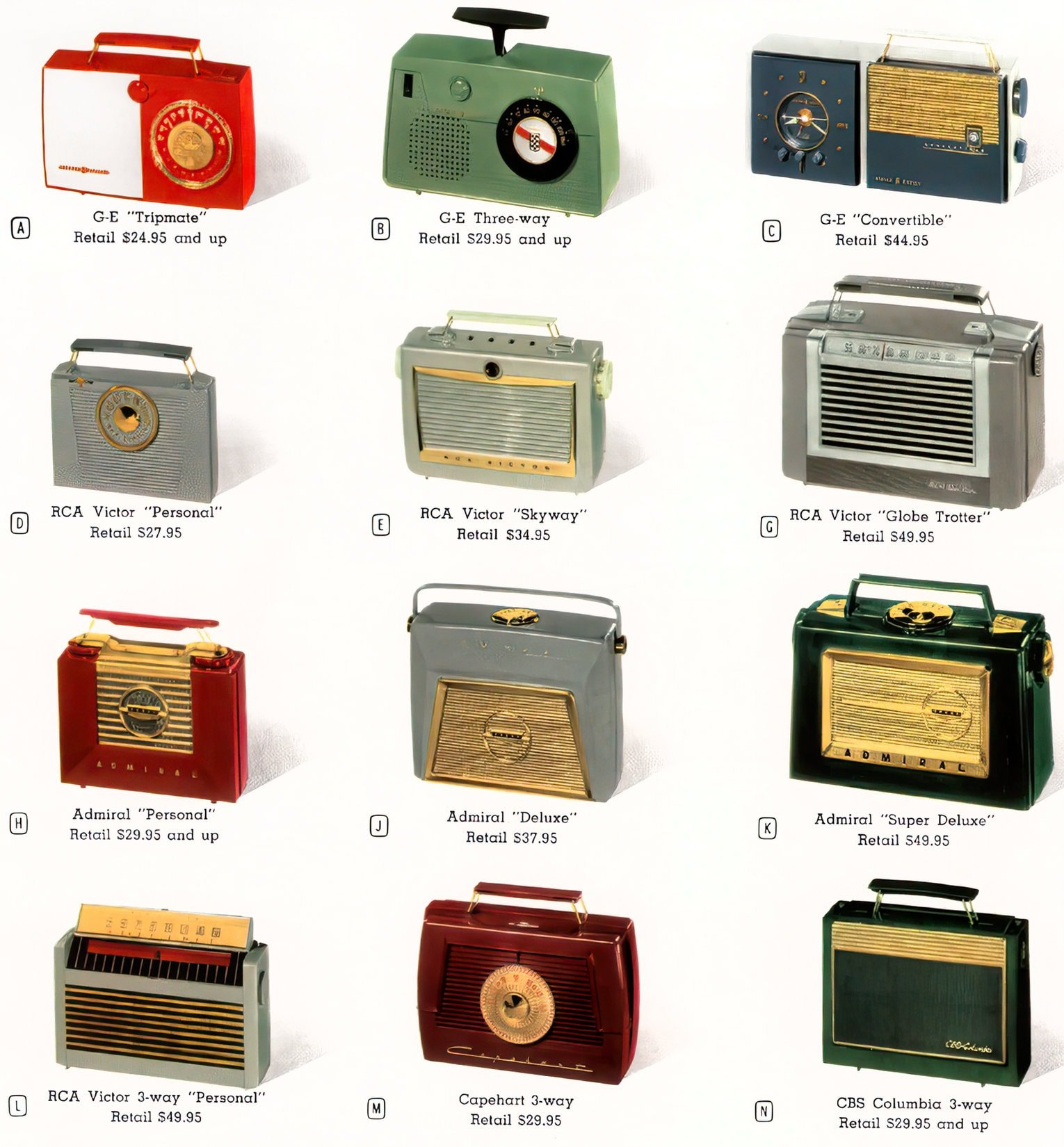 Old portable radios from the 1950s