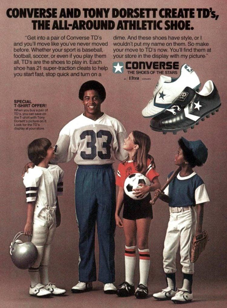 Old-school Tony Dorsett Converse athletic shoes 1979