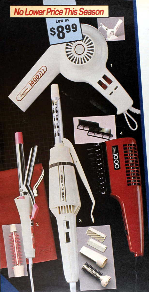 Old-school blow-dryers for hair from 1985