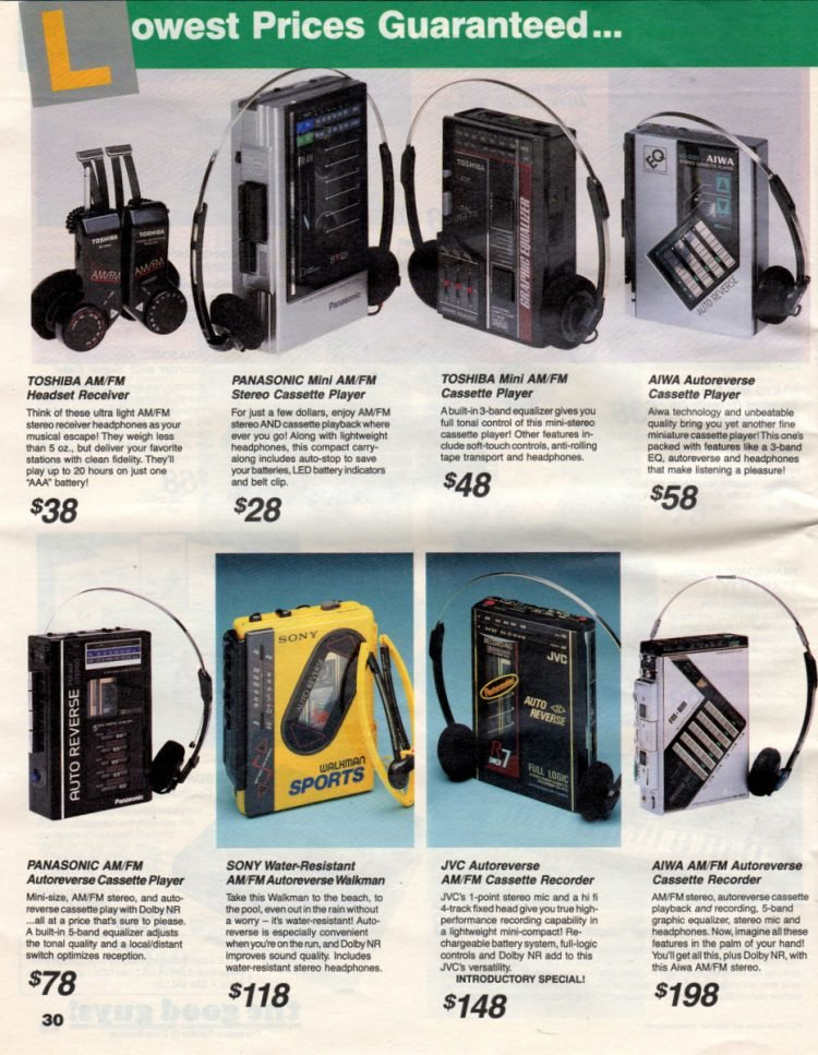 Old-school portable cassette tape players from 1987