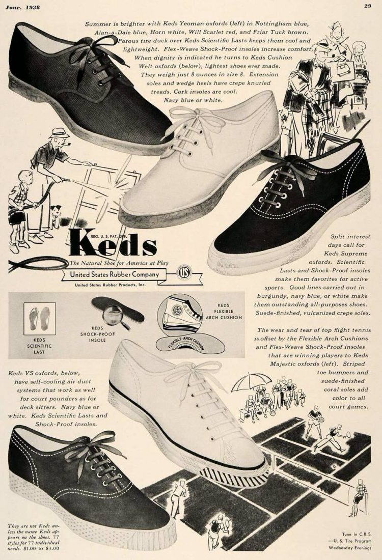 Old-style Keds footwear from the 1930s
