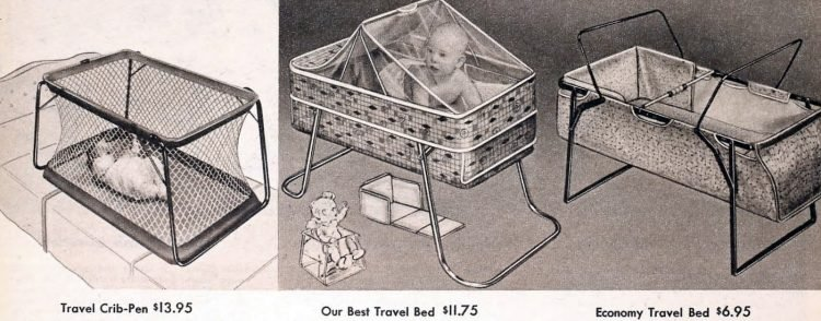 Old-style baby travel cribs from 1959