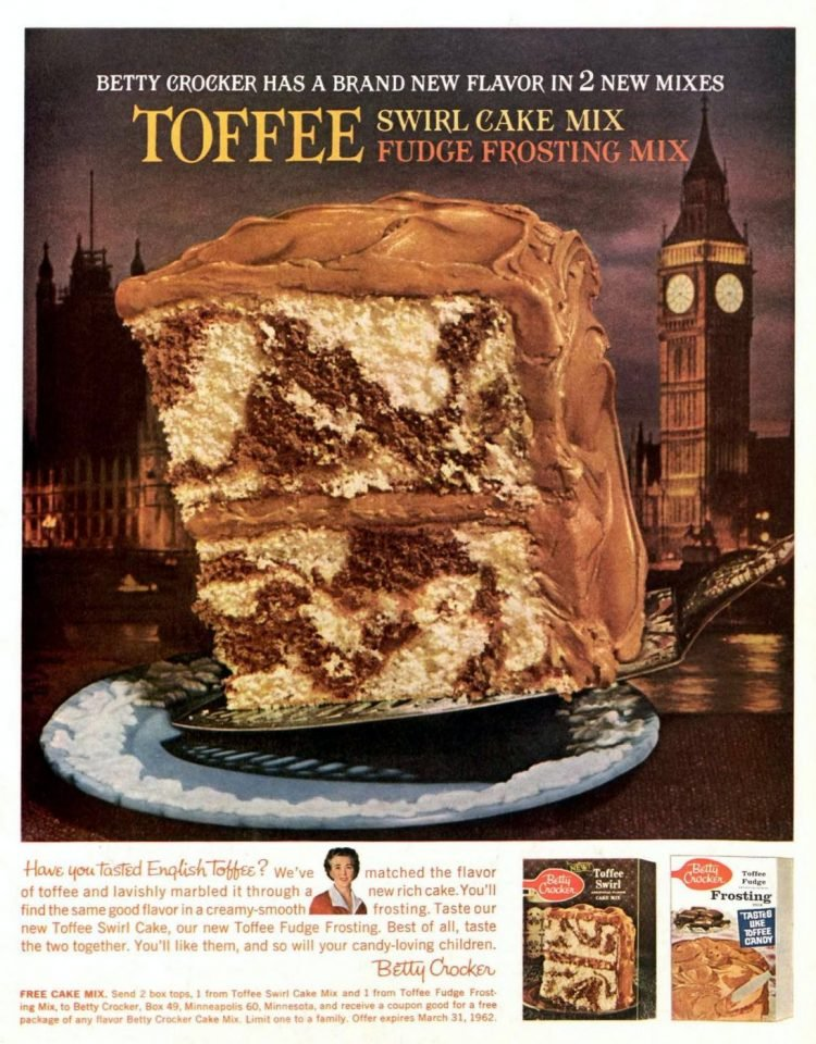 Old toffee cake mix from 1962