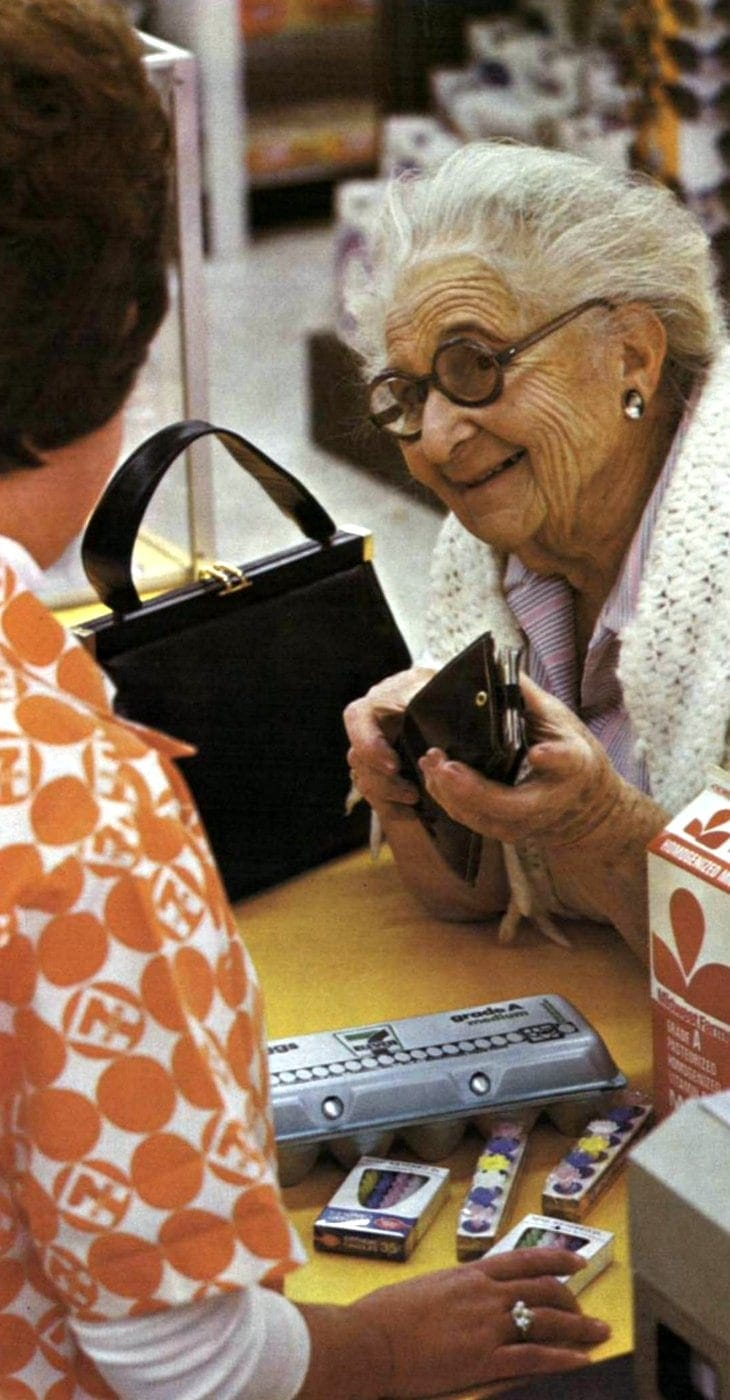Older woman checking out at 7-Eleven 1973