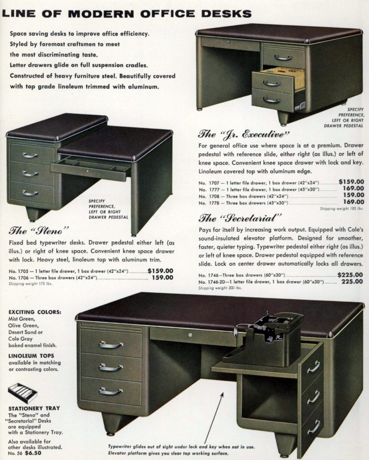 Olive green desks - Secretarial and junior executives - from the fifties