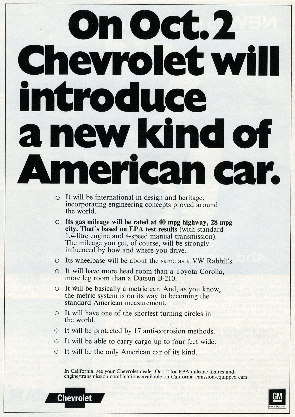 On October 2, Chevrolet will introduce a new kind of American car - September 1977